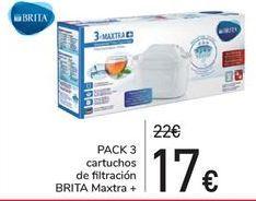 Oferta de Pack 3 cartuchos de filtración Brita Maxtra + por 17€