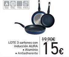 Oferta de Lote 3 sartenes con inducción AURA aluminio, antiadherente por 15€