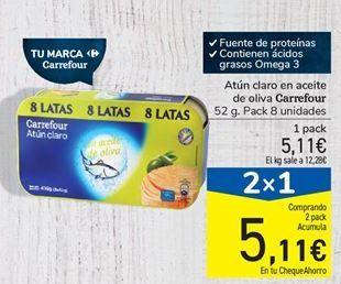 Oferta de Atún claro en aceite de oliva Carrefour por 5,11€