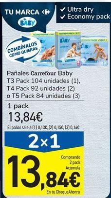 Oferta de Pañales Carrefour Baby por 13,84€