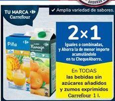 Oferta de En TODAS las bebidas sin azúcares añadidos y zumos exprimidos Carrefour por