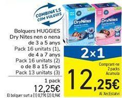 Oferta de Pañales HUGGIES Dry Nites niño o niña de 3 a 5 años por 12,25€