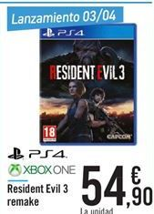 Oferta PS4 XBOX ONE Resident Evil 3 remake Carrefour