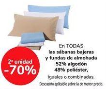 Oferta de En todas las sábanas bajeras y fundas de almohada 52% algodón 48% poliéster, iguales o combinadas por