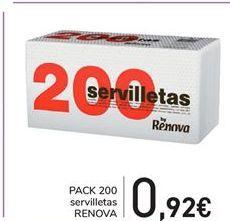 Oferta de PACK 200 servilletas Renova por 0.92€