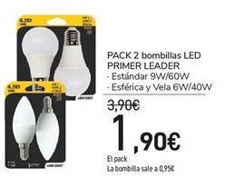 Oferta de Pack 2 bombillas LED PRIMER LEADER Estándar 9W/60W, Esférica y Vela 6W/40W por 1.9€