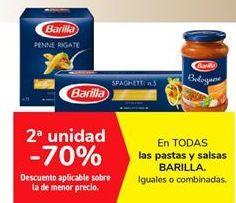 Oferta de Pastas y salsas Barilla por