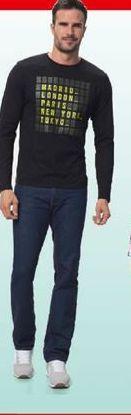 Oferta de Camiseta manga larga estampada hombre por 5,6€