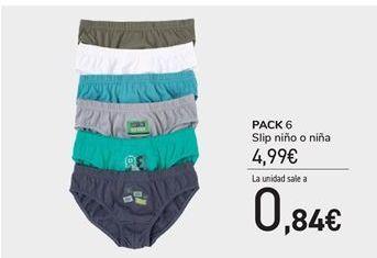 Oferta de Pack 6 slip niño o niñs por 4.99€