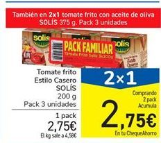 Oferta de Tomate frito Estilo Casero SOLÍS por 2,75€