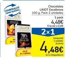 Oferta de Chocolates LINDT Excellence por 4.48€