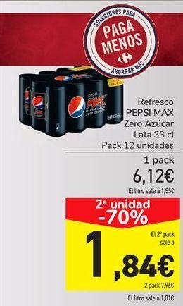 Oferta de Refresco pepsi max zero azúcar por 6.12€