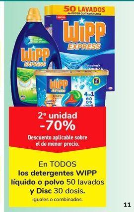 Oferta de Detergentes WiPP líquido o polvo 50 lavados y Disc 30 dosis por