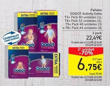 Oferta de Pañales Dodot activity extra por 22.49€