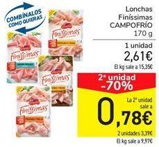 Oferta de Lonchas finússimas de jamón Campofrío por 2,61€