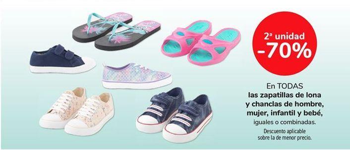 Oferta de En todas las zapatillas de lona y chanclas de hombre, mujer, infantil y bebé, iguales o combinadas por