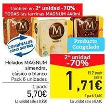 Oferta de Helados Magnum almendra, clásico o blanco por 5,07€