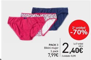 Oferta de Pack 3 bikini mujer 1 pack por 7.99€