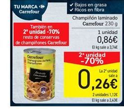 Oferta de Champiñones laminados carrefour por 0,86€
