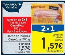 Oferta de Bacon en lonchas Carrefour por 1.57€