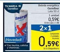 Oferta de Bebida energética carrefour por 0,59€