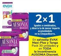 Oferta de En salvaslip EVAX Maxi-Plus y Tanga Pack 30 unidades y en TODA la incontinencia AUSONIA Discreet. por