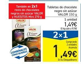 Oferta de Tabletas de chocolate negro sin azúcar VALOR 150 g por 1.49€