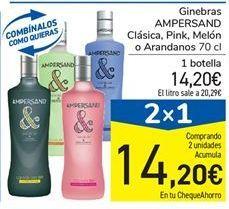 Oferta de Ginebras AMPERSAND Clásica, Pink, Melón o Arandanos 70 cl por 14,2€