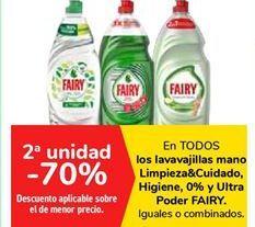 Oferta de En TODOS los lavavajillas mano Limpieza&Cuidado, Higiene, 0% y Ultra Poder FAIRY por