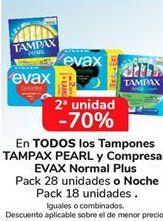 Oferta de En TODOS los tampones TAMPAX PEARL y Compresas EVAX Normal Plus o Noche, iguales o combinados  por