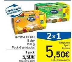 Oferta de Tarritos HERO Baby por 5.5€