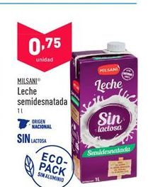 Oferta de Leche semidesnatada Milsani por 0,75€