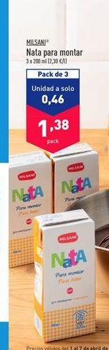 Oferta de Nata para montar Milsani por 1,38€