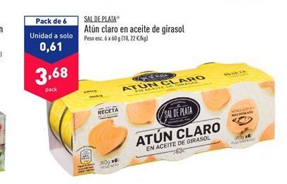 Oferta de Atún claro Sal de Plata  por 3,68€