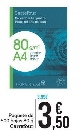 Oferta de Paquete de 500 hojas 80 g Carrefour por 3,5€