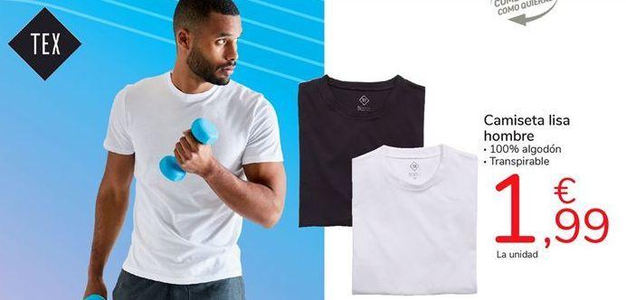 Oferta de Camiseta lisa hombre por 1,99€