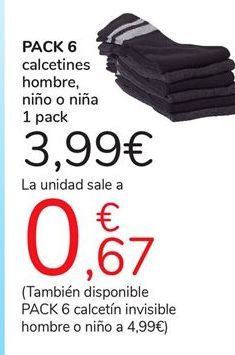 Oferta de PACK 6 calcetines hombre, niño o niña por 3,99€