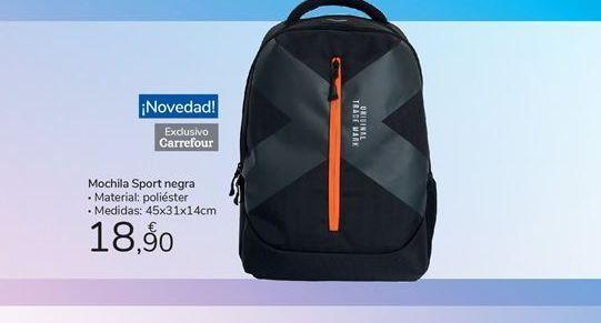 Oferta de Mochila sport negra carrefour por 18,9€