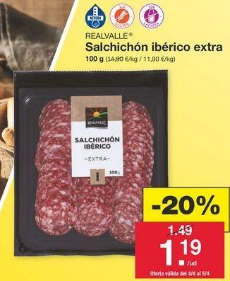 Oferta de Salchichón ibérico Realvalle por 1,49€