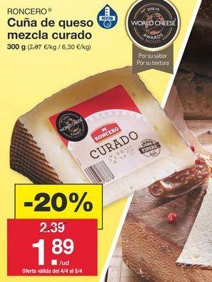 Oferta de Queso curado Roncero por 2,39€