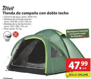 Oferta de Tienda de campaña familiar Crivit por 47,99€