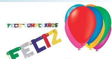 Oferta de Cartel Feliz Cumpleaños o Globos Colores Surtidos por 2,9€