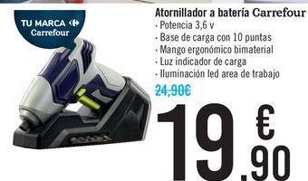 Oferta de Atornillador a batería Carrefour  por 19,9€