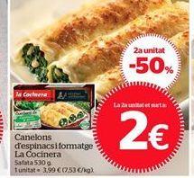 Oferta de Canelones  de espinacas y queso La Cocinera por 3,99€