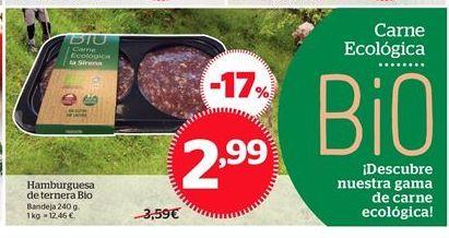 Oferta de Hamburguesas de ternera Bio por 2,99€