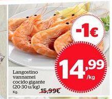 Oferta de Langostino vannamei cocido gigante por 14,99€