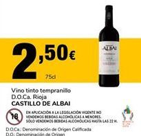 Oferta de Vino tinto Castillo de Albai por 2,5€