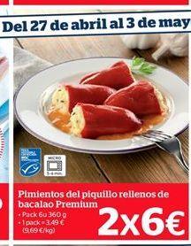 Oferta de Pimientos del piquillo rellenos de bacalao Premium por 3,49€