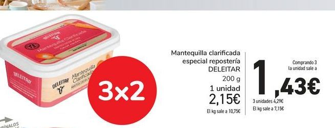 Oferta de Mantequilla Clarificada especial reposteria DELEITAR por 1,43€