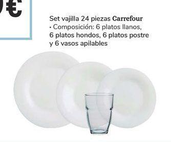 Oferta de Set vajilla 24 piezas Carrefour por 15€
